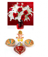 Pure Sophistication with Divine Diya Set Gifts toIndia, Combinations to India same day delivery