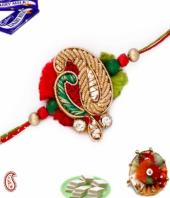 Zardosi Rakhi Gifts toIndia, flowers and rakhi to India same day delivery