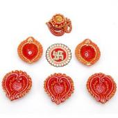 Diyas and Rangoli Gifts toIndia, Diya with Rangoli to India same day delivery