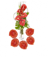 Oriental Flame with Floral Designed Earthen Diyas Gifts toIndia, Combinations to India same day delivery