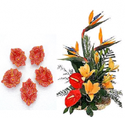 Floral Designed Earthen Diyas and  Exotic Flower arrangement Gifts toIndia, Combinations to India same day delivery