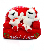 Adorable Teddies on Sofa Gifts toIndia, teddy to India same day delivery