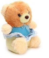 Brown Teddy With Blue Frock Toy