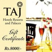 Taj Gift Voucher 8000 Gifts toIndia, Gifts to India same day delivery