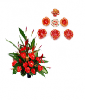 Red Flowers  with Diyas and Rangoli Gifts toIndia, Combinations to India same day delivery