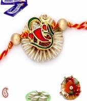 Ganesha Rakhi Gifts toIndia, flowers and rakhi to India same day delivery