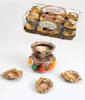 Diya Stand with Diyas and Ferrero Rocher 16 pc Gifts toIndia, Combinations to India same day delivery