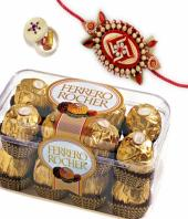 Sweet rakhi treat Gifts toIndia, flowers and rakhi to India same day delivery