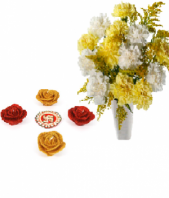 Blooming Friendship with Colorful Rose Diyas Gifts toIndia, Combinations to India same day delivery