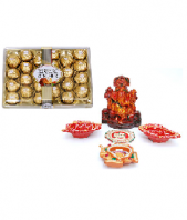 Precious Diya and Lord Ganesha Set with Ferrero Rocher 24 pc Gifts toIndia, Combinations to India same day delivery