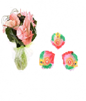 Pink Paradise with Colorful and Artistic Diya Set Gifts toIndia, Combinations to India same day delivery