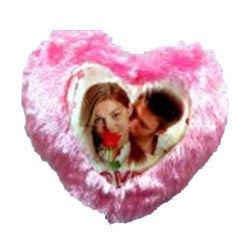 Photo Cushion with Pillow Pink in Heart Symbol