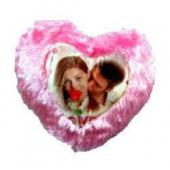 Photo Cushion with Pillow Pink in Heart Symbol Gifts toHSR Layout, personal gifts to HSR Layout same day delivery
