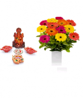 Precious Diya and Lord Ganesha Set with Cherry Day Gifts toIndia, Combinations to India same day delivery