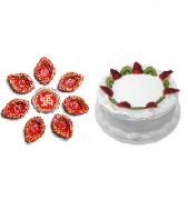 Ethnic Diyas and Vanilla Cake 1kg cake Gifts toIndia, Combinations to India same day delivery