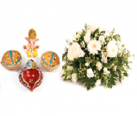 Divine Diya Set and Gift Harmony Gifts toIndia, Combinations to India same day delivery