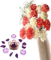 Floral Design Candles with Pink and White Carnations Gifts toIndia, Combinations to India same day delivery