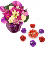 Purple Delight and Vibrant Rose Diyas Gifts toIndia, Combinations to India same day delivery