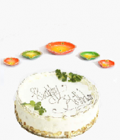 Orange Green Colored Diya Set and Vanilla Cake small for Diwali Occation Gifts toIndia, Combinations to India same day delivery