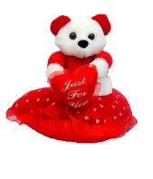 Small Teddy On Heart Pillow Gifts toChamrajpet, teddy to Chamrajpet same day delivery
