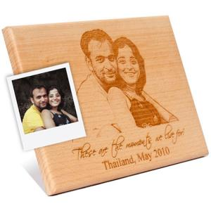 Wooden Engraved plaque for Couple Portrait