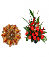 Attractive Diya Thali with Red flower pot Gifts toIndia, Combinations to India same day delivery