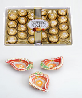 Ferrero Rocher 24 pc and Kalka Shaped Earthen Diya Set Gifts toIndia, Combinations to India same day delivery