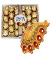 Conch Shaped Diya Set with Sweet Ferrero Rocher 24 pc Gifts toIndia, Combinations to India same day delivery