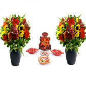 Precious Diya and Ganesha Set with 2 Basket of Gerbers Gifts toIndia, Combinations to India same day delivery