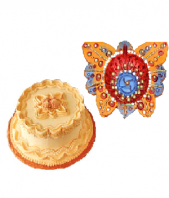Butterscotch Cake with Butterfly Shaped Diya Gifts toIndia, Combinations to India same day delivery