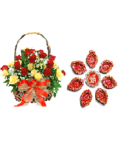 Ethnic Diyas and 24 Yellow and Red Roses Gifts toIndia, Combinations to India same day delivery
