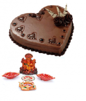 Ganpathi Idol and Diyas with Heart Shaped 1 Kg. Chocolate Truffle Cake Gifts toIndia, Combinations to India same day delivery
