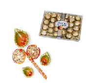 Ferrero Rocher 24 pc with Rangoli and Diya Set Gifts toIndia, Combinations to India same day delivery
