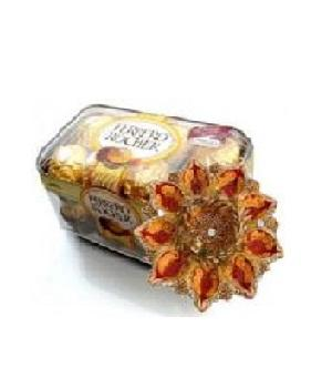 Attractive Diya Thali and Ferrero Rocher 16 pc