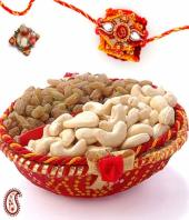 rakhi with Dry fruits Gifts toIndia, flowers and rakhi to India same day delivery