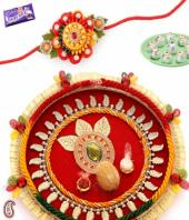 Rakhi Thali Gifts toIndia, flowers and rakhi to India same day delivery