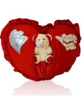 Heart with Teddy Gifts toIndia, toys to India same day delivery