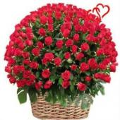 100 red roses basket Gifts toBasavanagudi, Flowers to Basavanagudi same day delivery