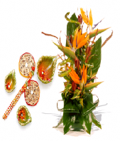 Rangoli and Diya Set with Spring Delight Gifts toAgram, combo to Agram same day delivery