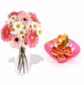 Pink and white gerberas and Beautiful Earthen Diya Set Gifts toIndia, Combinations to India same day delivery