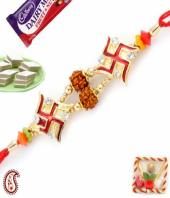 Swastik Rakhi Gifts toIndia, flowers and rakhi to India same day delivery