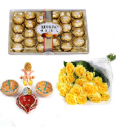 Ferrero Rocher and Divine Diyas with Sorbet Gifts toIndia, Combinations to India same day delivery