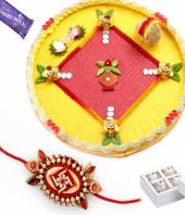 Rakhi Thal Gifts toIndia, flowers and rakhi to India same day delivery
