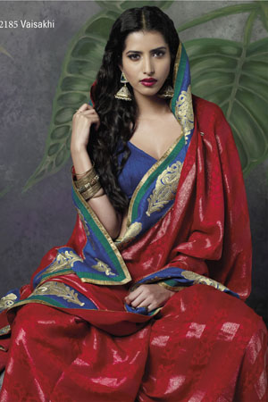 Red georgette saree With Blue Border and pita embroidery