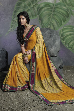 Shaded Yellow Georgette Saree with printed magenta border