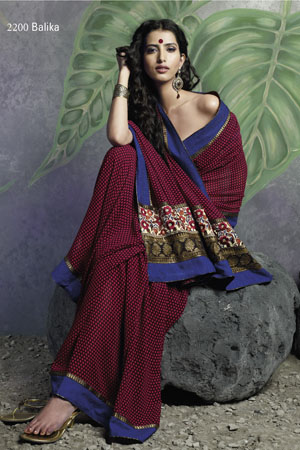Printed Maroon Georgette saree With Blue Border