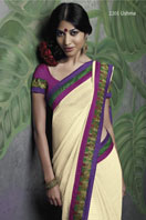 Cream Georgette Saree with fancy embroidery border Gifts toIndia, sarees to India same day delivery