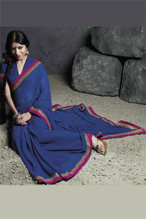 Printed Blue Georgette saree with captivating pink border
