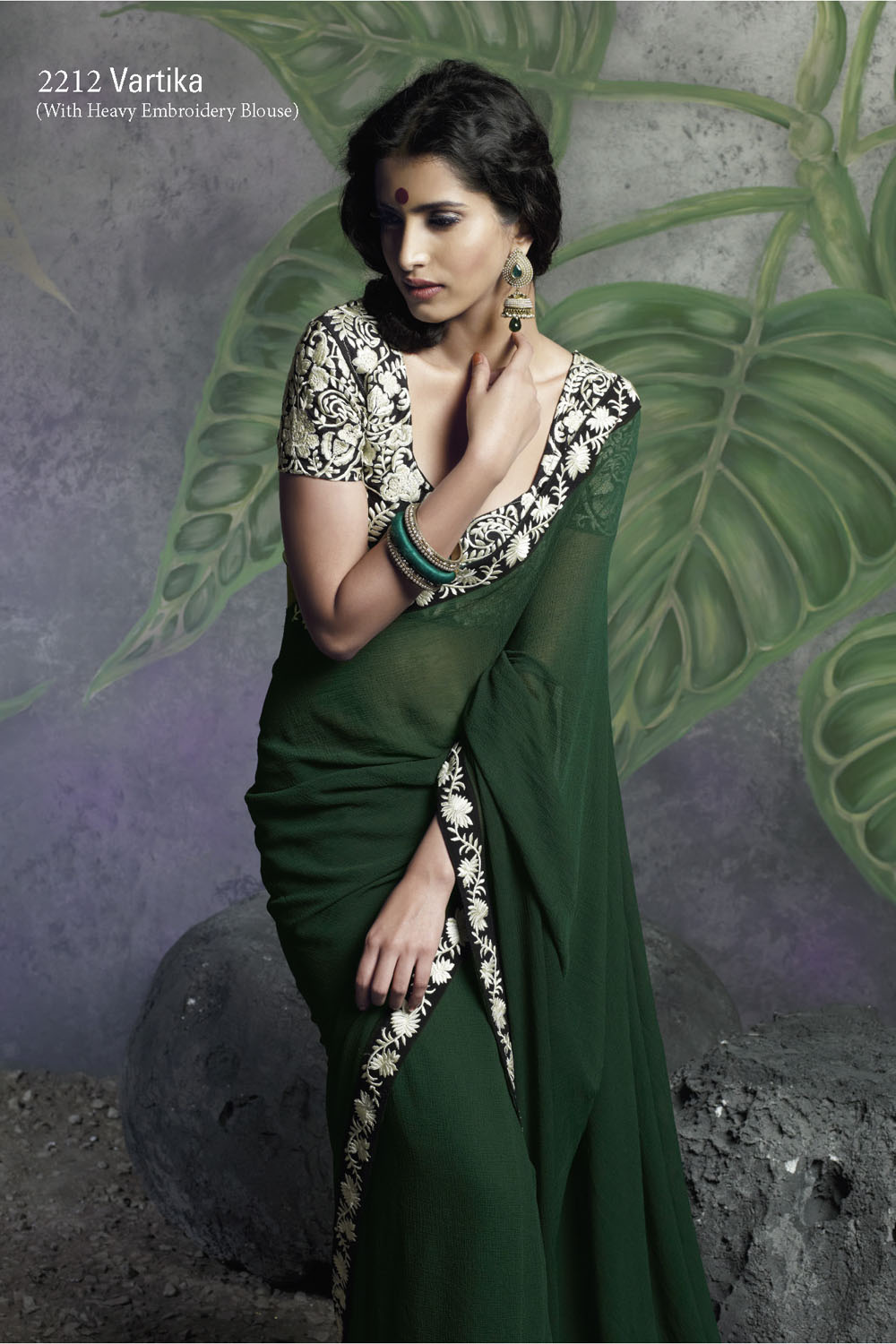 Bottle Green Saree With Heavy Embroidery Blouse