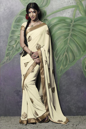 Beige georgette saree with zari embroidery and border